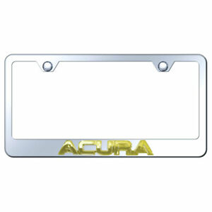 License Plate Frame Gold With Acura 3d On Chrome Metal officially Licensed
