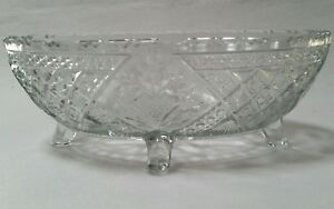 Antique Oval Crystal Bowl Footed 218