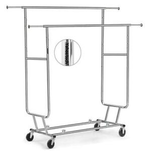 Yaheetech Commercial Grade Rolling Collapsible Garment Rack