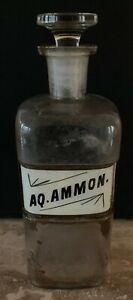 Antique Pharmacy Apothecary Bottle W Glass Stopper Aq Ammon Large 10 Inch