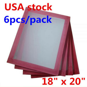 Usa 6 Pack 18 X 20 Aluminum Screen Printing Frame With 180 White Mesh Count