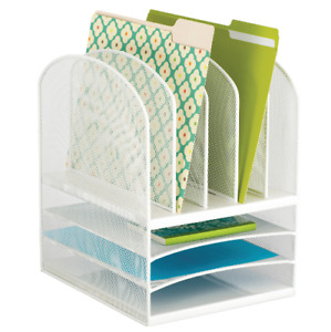 Safco Onyx Mesh Desk Organizer Eight Sections White