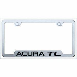 Cut out License Plate Frame With Acura Tl On Brushed officially Licensed