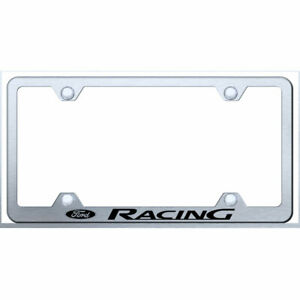 Wide Body License Plate Frame With Ford Racing On Brushed Officially Licensed
