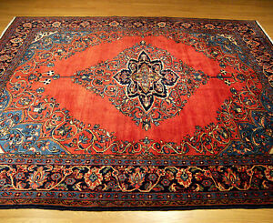7 X 10 Handmade Antique 1940s Fine Persian Oriental Wool Rug Great Condition
