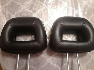 99 00 Civic Si Em1 Headrest Pair Leather Red Stitching