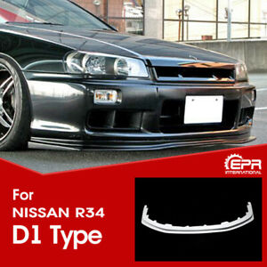 For Nissan R34 Skyline Gtt Type D1 Style Frp Front Bumper Lip Exterior Body Kit