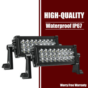 2x 7inch 36w Led Work Light Bar Tri Row Spot Driving Lamp Dual Row For Snow Plow