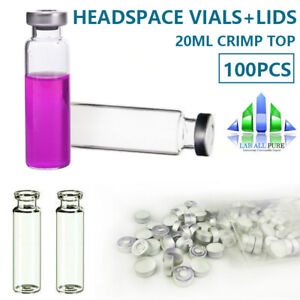100 20ml Headspace Vials aluminium Caps Storage Vial Crimp Top Glass Bottle Gc