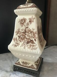 Antique Brown Transferware Table Lamp Fabulous Style Bronze Base Asian Infl