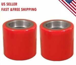 2 Pcs Polyurethane Cast Iron Steering Wheels Pallet No Bearings 7x2 Red