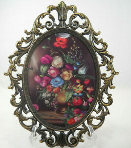 Vintage Floral Vase Picture Oval Metal With Bubble Convex Glass Italy Frame