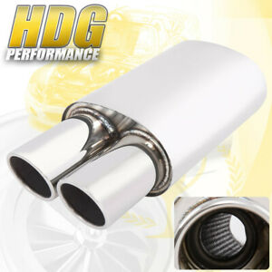 3 5 2 5 Inlet Dual Slant Rolled Tip High Flow Sport Racing Exhaust Muffler