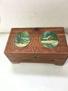 Wooden Cedar Carved Jewelry Box With Mirror Vintage Dual Winter Scenes Shipsfst