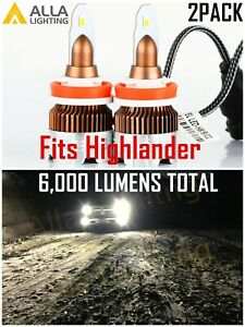 Alla Lighting Xenon White H9 Headlight fog Light Bulb Led Headlights For Cars