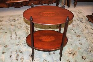 English Antique Inlaid Mahogany Tow Tier Side End Table