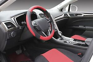 Steering Wheel Cover Microfiber Leather Cover Black And Red 14 5 15 Inches