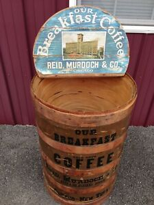 Antique General Store Wood Coffee Bean Barrel Bin Crate Stencil Paint