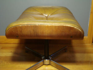 Vintage Black Leather Mid Century Chair Foot Stool Ottoman Eames Plycraft Selig