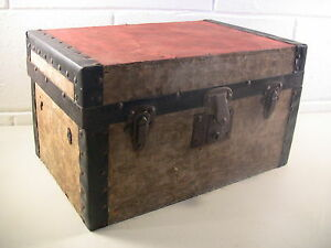 Antique Steamer Trunk Miniature Wooden Doll Chest Furniture Rustic Farmhouse