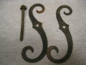 Vintage 2 S Shaped Shutter Dogs With 1 Mounting Hardware Bolt Steel