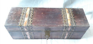 Vintage Old Wooden Brass Bone Fitted Storage Trinket Jewelry Box Chest Art