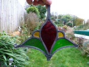 Vintage Antique Old Piece Of Stained Glass Light Catcher Display Etc