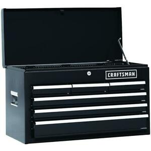 Craftsman 26 In 6 Drawer Heavy duty Top Box Chest Tool Storage Black Ball Beari