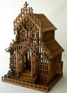 Rare Antique Signed Dated 1900 Folk Art Fretwork Wood Hinged Birdcage Must See