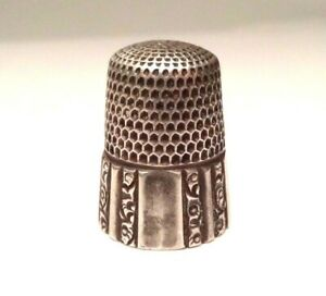 Vintage Sterling Silver Ornate Floral Thimble Ladies Sewing Size 10 Finger 925