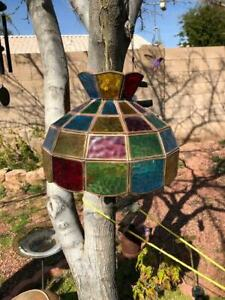 Vintage Tiffany Style Multi Color Stained Glass Hanging Chandelier Bar Lamp