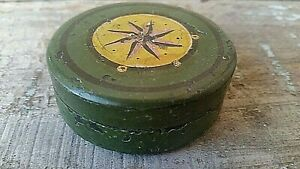 Trinket Box Miniature Nautical Sailor Compass Old Early Green Paint Antique Ship