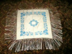 Old Chinese White Silk W Turquoise Embroidered Design Piano Scarf Shawl 8 Fring