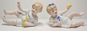 Antique Vintage 2 Miniature Figurine Bisque Porcelain Piano Baby Girl