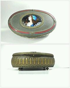 Antique Footed French Bronze Jewelry Box Portrait Miniature Enamel Signed