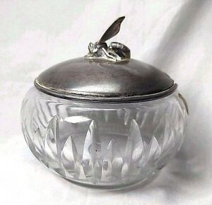 Antique Covered Honey Bowl Crystal German Sterling Silver Bee Wilkens
