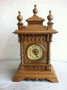 Antique Mantel Clock Alarm Music Box Ancienne Horloge Reveil Musical Circa 1910