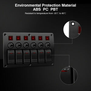 Excelvan 6 Gang Led Panel Switch Waterproof Overload Protector For Car ship bus