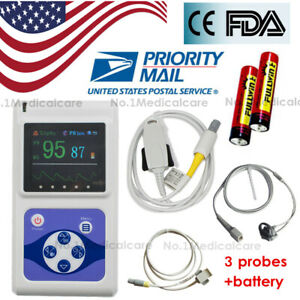 Contec Cms60d Finger Pulse Oximeter Adult child neonatal 3 Probes Battery Usa
