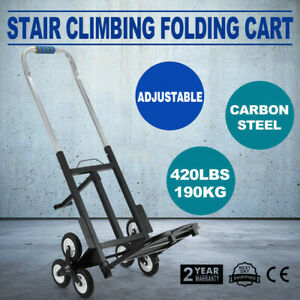 Portable Stair Climbing Folding Cart Climb Carbon Steel 6 Wheels Adjustable