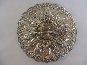 Egyptian Sterling Silver Hand Mirror W Floral Design Figural Bird Finial