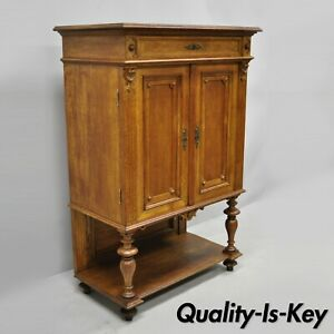 Early 20th C French Renaissance Golden Oak Wood Small Cupboard China Cabinet