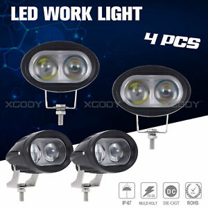 4x 4inch 4d Led Work Light Bar Pods Spot Beam Offroad For Suv Tractor Lamps Us