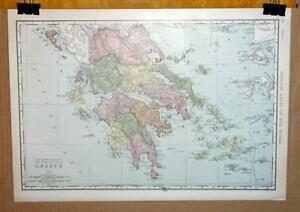 Antique 1912 Rand Mcnally World Atlas Map Of Greece 14 X 20 5 Wall Map