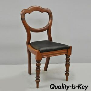 Antique 19th C English Victorian Balloon Back Mahogany Library Side Chair A
