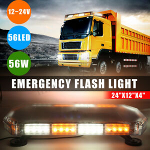 Yellow White 56led Light Bar Roof Top Road Emergency Hazard Flash Strobe 24