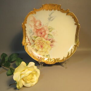 Willliam Guerin Limoges Charger Plate Heavily Gilded W Hand Painted Roses