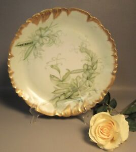 Haviland Limoges Charger Plate W Green Peapods Florals Scalloped Gold Border