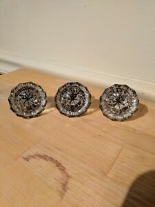 Vintage Antique Clear Glass Door Knobs Lot Of 3 Victorian Salvage 12 Point