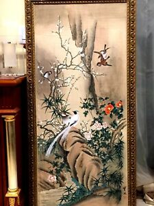 Antique Beautiful Chinese Hand Painting On Silk Birds Flowers Signed Fraimed